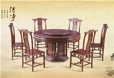 黑酸枝/非洲红酸枝  1.38米素面圆餐台配明式椅7件套